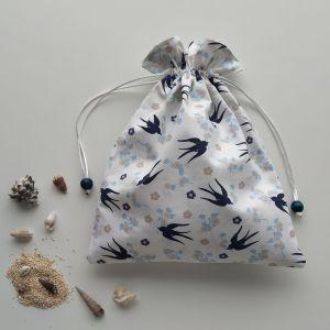 Sacs en Tissu - Sac Pochon - Hirondelles et Fleurs de Cerisiers