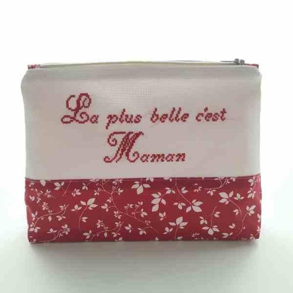 Trousse de Toilette personnalisé femme - Feuilles Rouge Blanc