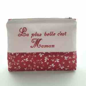 Trousse de toilette Femme - Feuilles - Rouge et Blanc