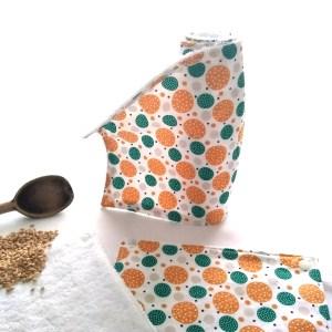 essuie-tout lavables ronds vert ambre