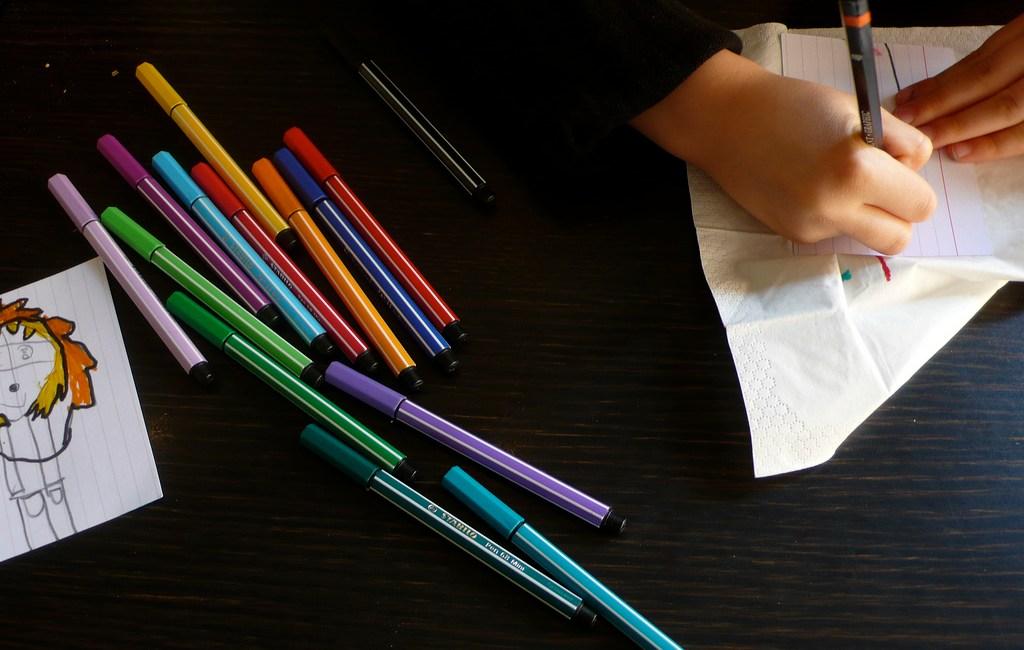 Børnetegninger er oplagte at bruge, når man laver o-creation med børn.