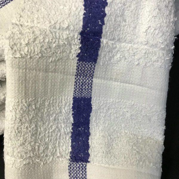 Small Tennis Towel (16x27) - White with Blue Stripe - priced per dozen