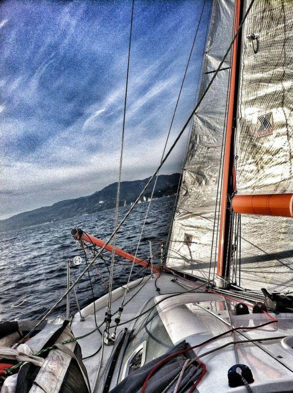 Sailing towards Malibu on a Pogo 2