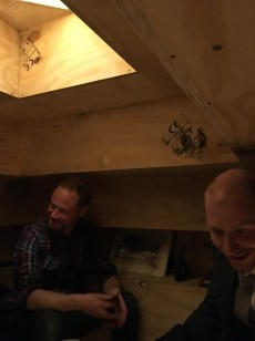 Hanging out in the bothy - with Tom (one of the artists who built the 'table-room') and Richard
