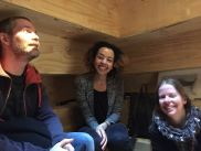 Hanging out in the bothy again with Johan and Alison - definitely reminded me of a sauna. (Because of the stepped wooden interior. There was no nudity involved here.)