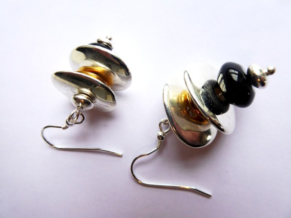 meryl lusher, black,silver,goldearrings