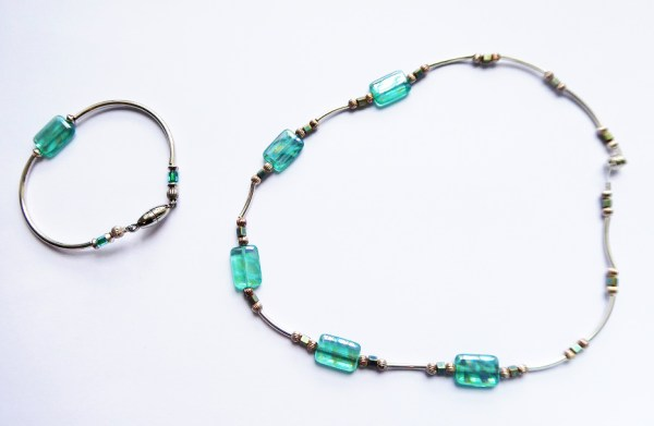 meryl lusher, pale blue and silver necklace and bangle
