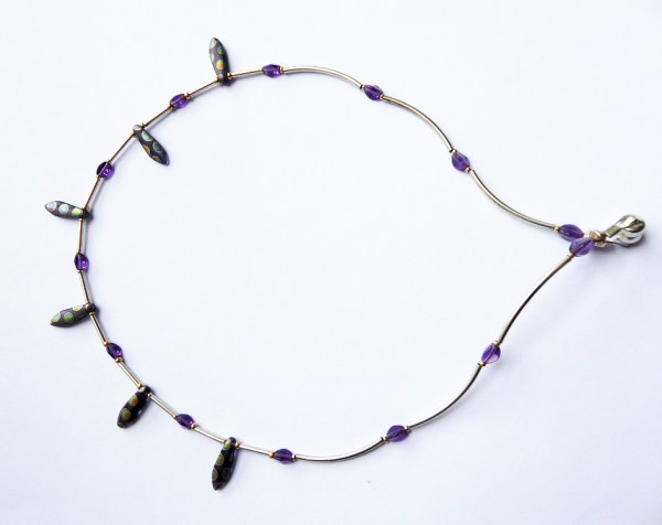 meryl lusher, spotted greenand blue and silver necklace