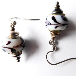 meryl lusher,blackand white striped earrings