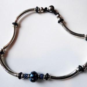 meryl lusher,silver,blueceramic necklace