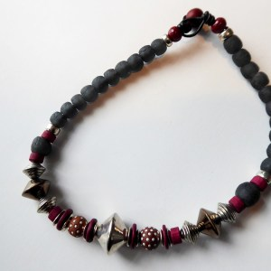 meryl lusher,spottedbrownbulgarian, kroboand silver bead necklace
