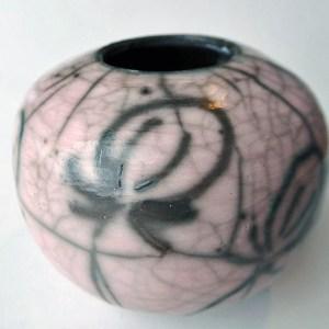 julie brownking raku pink bowl