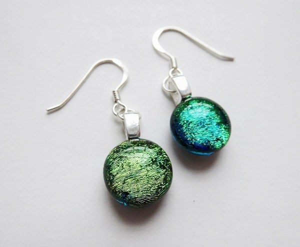 Rosie Waites blue green sparkle earrings