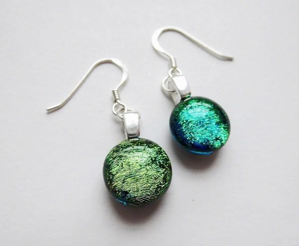 Rosie Waites blue green sparkle earrings