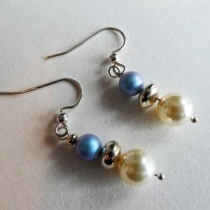 Meryl Lusher Swarovski sky blue and white bead an silver earrings