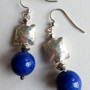 Meryl Lusher Thai silver and blue glass bead earrings