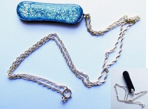 Rosie Waites Cylindrical sparkle light blue chain necklace copy