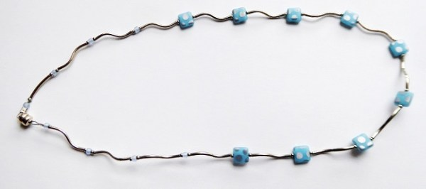 meryl lusher twisted silver and blue czeck peacock bead necklace