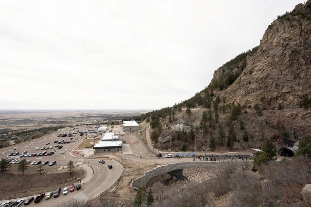 People arrive for the Cheyenne Mountain anniversary in 2016.