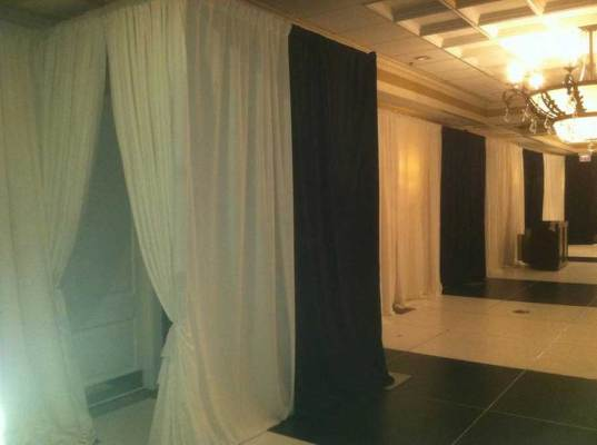black and white pipe and drape event production