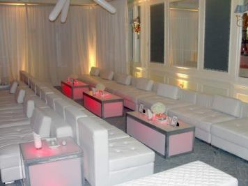 illuminated tables and lounge decor
