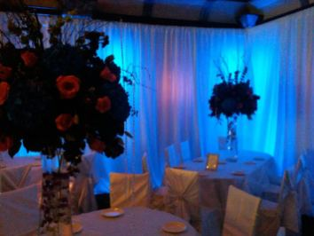 pipe and drape, linens, centerpieces event decor