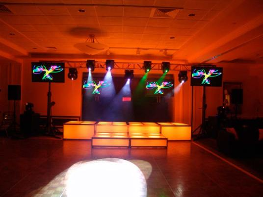 orange LED stage decks, video screens, theatrical lighting