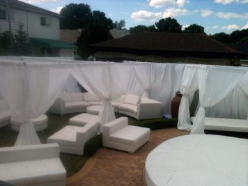privacy booths with pipe and drape, event furniture rentals