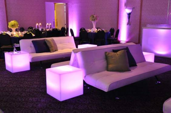 event decor rentals with illuminated end tables