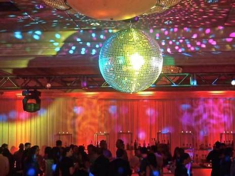 disco ball prop over dance floor with speciality lighting