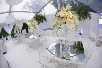 Mirrored-Tables-Furniture-Rental-with-clear-acrylic-chairs