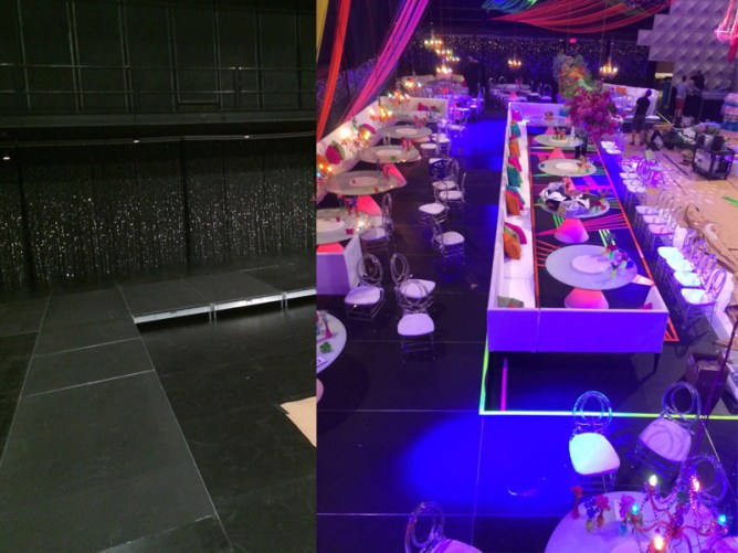 long custom black stage before and after