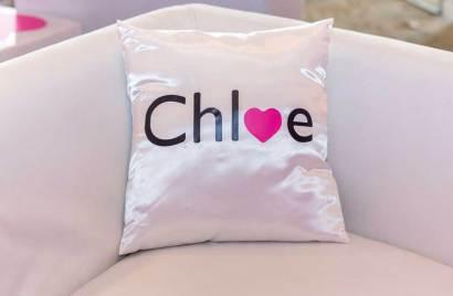 white silk personalized pillow