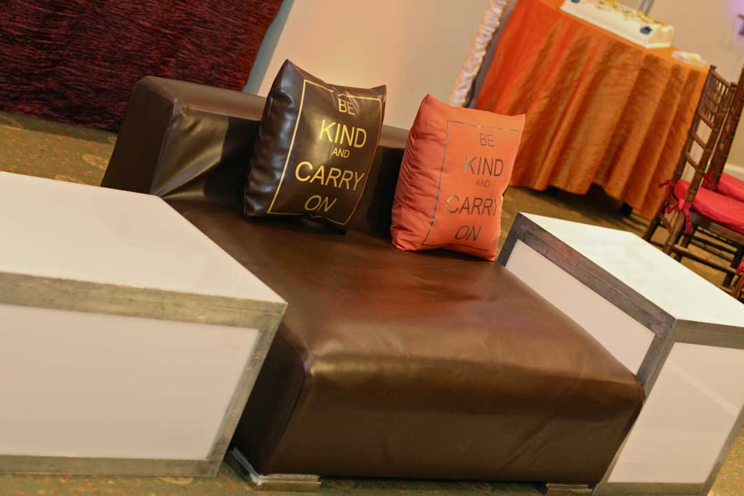 Amber Brown Low Back Sofa And Custom Pillows