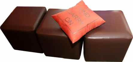 Amber-brown-ottomans-with-personalized-pillow