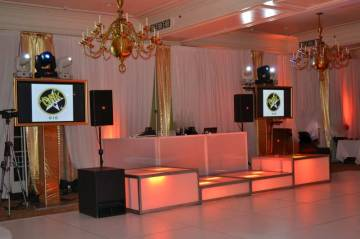 white-and-gold-mitzvah-with-LED-stage-decks-video-screens-and-DJ-booth