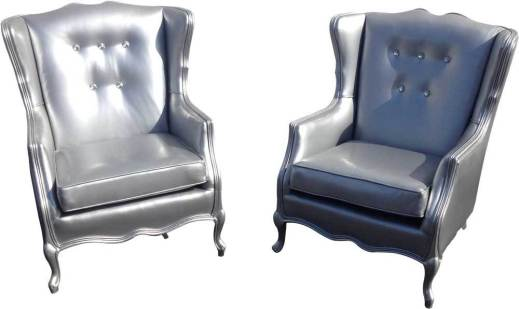 Silver Tufted Wing Chairs