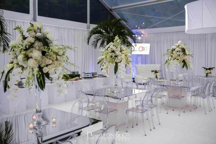 Clear Acrylic chairs with mirrored table