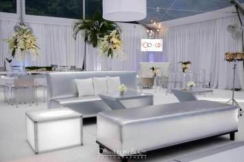 Silver Lounge Decor with white pillows