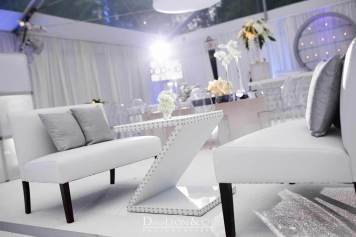 Silver Z shaped Table and silver lounge decor
