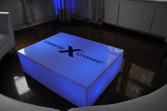 Celebrity-Cruise-Corporate-Event-lighted-table-with-logo