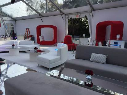 Event-furniture-for-sweet-sixteen-grey-white-couches-mirrored-dance-floor-red-zero-loveseats-tent
