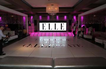 White-portable-dance-floor-with-cutom-wording-LED-stage-decks-glitter-curtain