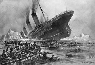 Titanic-lifeboats-onlook-sinking