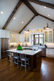 13 Ways to Add Ceiling Beams to Any Room   Town   Country Living Ceiling Beams in Kitchen
