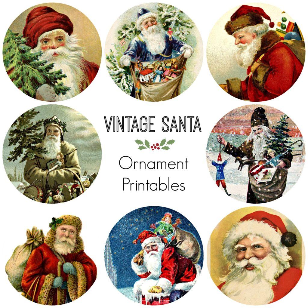 8 Vintage Santa Ornaments Free Printable