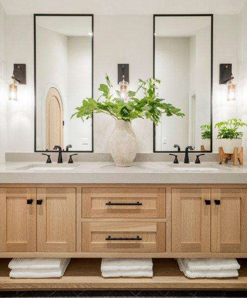 light wood double sink bathroom vanity