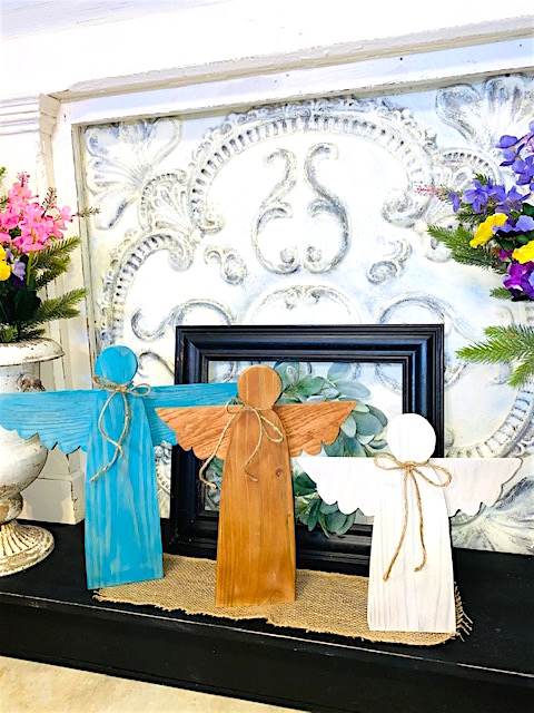 Set of three Wooden Garden Angels.  Teal/Aqua, Brown, White.  All washed with acrylic paint where the wood grain still shows through.