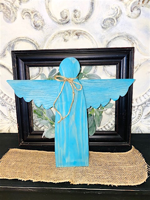 Teal or Aqua Colored Wooden Garden Angel that stands on its own.