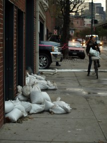 Sand bags left over from the storm put in place to protect Stuy Town and Peter Cooper Village from flooding. (Photo by Maria Rocha-Buschel.)